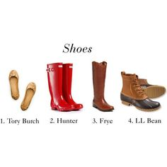 tory burch flats, hunter wellies, frye riding books, and ll bean boots