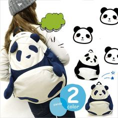 """Lovely panda canvas backpack suit for back to school or outdoor activities !  Coupon code """"cutekawaii"""" for 10% off"""