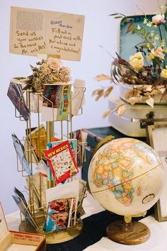 THIS. YES!!! PERFECT FOR A GUEST BOOK!    Vintage travel wedding as seen on @offbeatbride