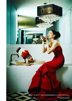 Donna Karan - red dress - 2014