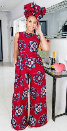 AfroPolitan: The African print Lanna Jumpsuit. Blue: The African print Wariba Jumpsuit. Available in sizes US4/US8 to US20/UK24 in tall and reglaur. www.grass-fields.com