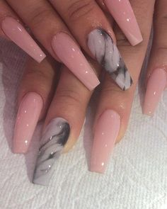 Henry Nguyen on Jus a simple look me if u like these cute nails design Aycrlic Nails, Swag Nails, Hair And Nails, Coffin Nails, Grunge Nails, Summer Acrylic Nails, Cute Acrylic Nails, Pink Nail Art, Summer Nails