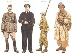 World War II Uniforms -France - 1940 May, Sedan, Major, 46 Inf. Regiment France - 1940 May, Toulon, Lieutenant, Mediterranean Fleet France - 1940 Sep., England, Private, Free French Army France - 1941 July, Syria, Private, Vichy French Moroccan Spahis