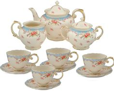 Gracie China Vintage Green Rose Porcelain 11-Piece Tea Set, Green : Amazon.com : Kitchen & Dining