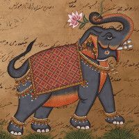 Indian-Elephant-Painting-OLD-COURT-PAPER-Handmade-Ethnic-Animal-Miniature-Art-190755050484-2