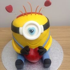 Happy Valentine's Day minion cake for my amazing husband - a new breed of ginger minions