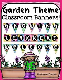 The Garden Theme Classroom Banner Kit is a fun and decorative way of welcoming students into the a Classroom of Growing Learners. This product fits in nicely with any Garden or Bug Themed Classroom. The Garden Classroom Banner Kit includes two pennant banners and one horizontal banner.