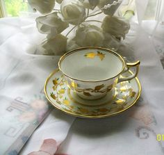 Vintage Royal Chelsea teacup white with gold by NewtoUVintage