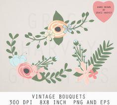 Flower Clip Art Flower and Laurel Clip Art by GraceHarveyGraphics, $4.99