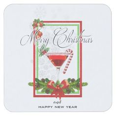 Christmas Cocktail Watercolor Art Square Paper Coaster - elegant gifts classic stylish gift idea diy style