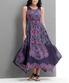 Look what I found on #zulily! Purple Paisley Sleeveless Handkerchief Maxi Dress - Plus #zulilyfinds