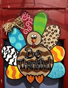 Cute for any door on Turkey day! These are custom cut and measure approx. 24 inches, made of durable plywood, and hand painted. It comes