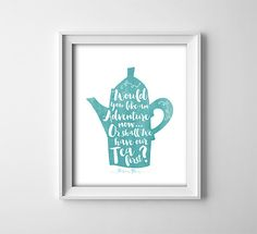Buy One Get One Free - Art Print - Would you like an adventure now, or shall we have our tea first? - Peter Pan - nursery - baby - teal