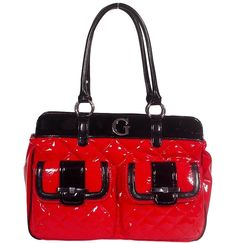 Guess Jill Large Satchel Handbag Bag Purse - Red / Black -- More info could be found at the image url.