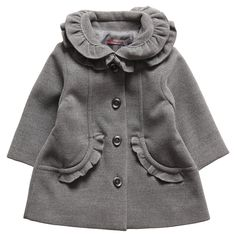 Girls Grey Coat with Frills - Coats & Jackets - Girl | Childrensalon Tutto Piccolo $110.70