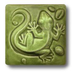 Whistling Frog Tile Company Gecko 4x4 Tile 403, Artistic Artisan Designer Tiles