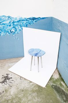 A group of German designers have created stool seats from oddly shaped pieces of recycled plastic produced at an injection-moulding factory.