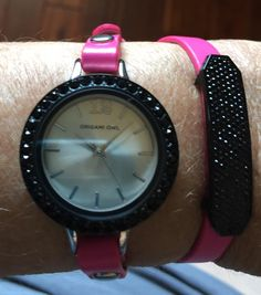 Black slider with over 150 black Swarovski Crystals, pink leather wrap, black crystal face and our new watch! AMAZING LOOK!