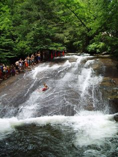Sliding Rock is actually a waterfall in Western North Carolina, placed around Brevard, so called because guests may slide all the way down a waterfall to the dive pool area below.