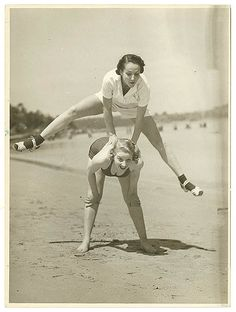 """Valerie Hays from the cast of """"Over she goes"""" being leapfrogged, 1937 / by Sam Hood.  From the State LIbrary of NSW exhibition, Bondi Jitterbug: George Caddy and his Camera. From the collections of the Mitchell Library, State Library of New South Wales http://www.sl.nsw.gov.au  Find more about this photograph at: http://acms.sl.nsw.gov.au/item/itemDetailPaged.aspx?itemID=153765"""