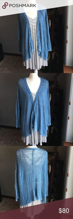 "Free People Vee Vee Cardigan Free People Vee Vee Cardigan. Size medium.  Oversized and loose knit stitching.  3 hidden buttons in front. Dropped shoulder and slouchy style cardigan. Very beautiful blue color.  The hem is asymmetrical.  This is great paired with dresses, skirts, and jeans.  Super comfortable and very cute! Measures about 25"" from shoulder to bottom hem.  Offers and bundles welcome! Free People Sweaters Cardigans"