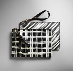 The Coach Bleecker Small Wristlet in Black and White Print