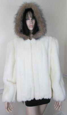 Gorgeous Fluffy White Faux Fur Coat Jacket with Hood & Front Zipper size Large #Unbranded #BasicCoat
