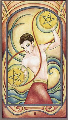 Two of Pentacles - Fenestra Tarot - juggle, play & find your balance in motion.