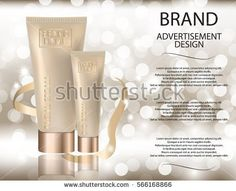 Glamorous facial an eye cream jar on the  sparkling effects background. Mockup 3D Realistic Vector illustration for design, template