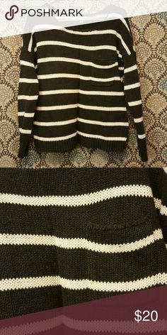 AE sweater AE grey and white stripped sweater with pocket. Only worn a few times. I'm open to offers! :) American Eagle Outfitters Sweaters Crew & Scoop Necks