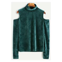 Green Velvet High Neck Open Shoulder T-shirt ($23) ❤ liked on Polyvore featuring tops, t-shirts, high neck t shirt, green t shirt, green top, velvet top and cold shoulder t shirt