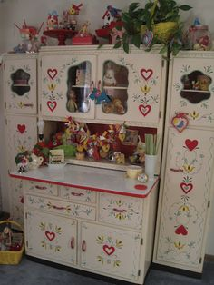 wonderfully painted hoosier cabinet
