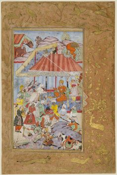 Distribution of Gifts by Emperor Babur, Encamped in Begram Page from a dispersed manuscript of the Baburnama