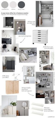 My cosy, grey home office makeover – before + mood board inspiration – Modern Home Office Design Modern Office Design, Office Interior Design, Office Interiors, Interior Ideas, Gray Home Offices, Beds For Small Spaces, Work Spaces, Mood Board Interior, Grey Office