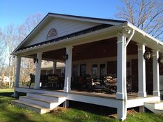Covered deck in Lynchburg, VA Covered Decks, Covered Porches, Southern Porches, Back Deck, Outdoor Living, Outdoor Decor, Sunroom, Front Porch, Beach House