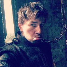 Torrance Coombs as Bash behind the scenes in Reign on the CW. Poor punk.