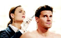 One of my fave scenes between Booth & Bones in the whole series - when she is removing evidence from him after the bank bomb.  Him reciting the saints as she removes his pants was hilarious!!!