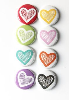 LOVE THESE! Just Hearts 1 Flair by aflairforbuttons on Etsy, $6.00 #aflairforbuttons #projectlife #hearts
