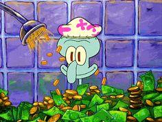 Also in diesen GIF können wir uns doch alle am Anfang des Monats hineinversetzen, oder? Wenn endlich das Gehalt auf'm Konto ist und du denkst du könntest die ganze Welt kaufen. Oder halt in deinem Geld baden, so wie es Thaddäus von Spongebob Schwammkopf gerade tut. | unfassbar.es