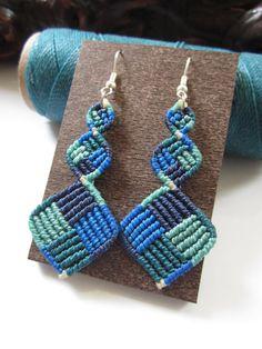 Macrame aros azul Color hecho a mano