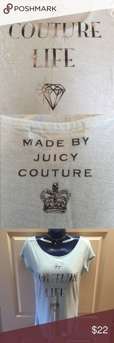 """Couture Life 💎 Low Dip Back Tee • Baby Blue • Juicy Couture Top • Baby Blue (pics look closer to the 4th pic) Front reads # Couture Life & it has Faux Diamonds • Back dips low and reads """"Made by Juicy Couture"""" I bought it and never wore it so it is in PERFECT CONDITION! 💎 MEDIUM • Please make me an offer using the offer button • Thank you! 💎 Juicy Couture Tops Tees - Short Sleeve"""
