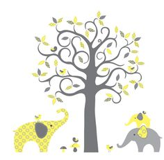 Gray and Yellow Modern Pattern Tree with Elephants and Birds - Vinyl Wall Art Decal on Etsy, $129.00