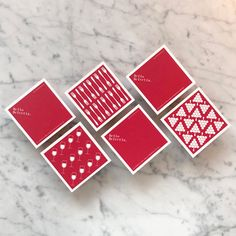 Set of 6 coasters featuring 3 different motifs. Screenprinted on both sides.