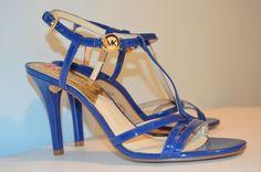 New Michael Kors MAGGI Patent Leather T-Strap Strappy Sandal Slide ~Blue~8.5M #MichaelKors #Sandals
