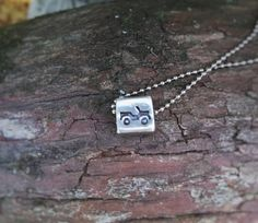 Hand Stamped Jeep necklace  Pewter cube or pewter by taggyourit