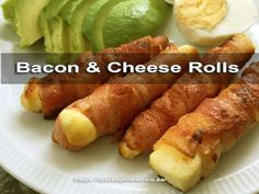 This Halloumi and Bacon Rolls Recipe produces delicious Keto & Banting friendly halloumi wrapped in bacon cheese snacks. Cheese Snacks, Keto Snacks, Healthy Snacks, Healthy Eating, Banting Diet, Banting Recipes, Lchf, Bacon Recipes, Low Carb Recipes