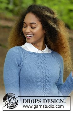 Knitted jumper with raglan and lace pattern, worked top down. Sizes S - XXXL. The piece is worked in DROPS Lima. Drops Design, Knitting Patterns Free, Free Knitting, Jumper, Men Sweater, Pullover Designs, Raglan, Free Design, Celebrities