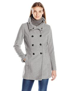 Jason Maxwell Womens Double Breasted Stand Collar Wool Jacket Heather Grey XLarge -- Check out the image by visiting the link.