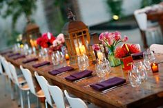Purple and Red Table Wedding Ideas