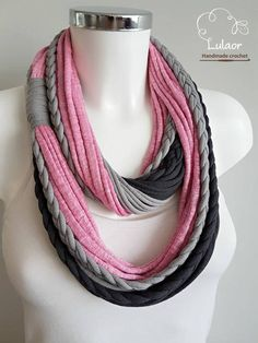 Infinity scarf for woman t shirt infinity scarf gift for her fabric scarf cotton fabric scarf skinny scarf pink scarf – Fashionable T Shirt – Ideas of Fashionable T Shirt – T shirt scarf t shirt infinity scarf loop scarf fabric Yarn Necklace, Fabric Necklace, Scarf Jewelry, Fabric Jewelry, T Shirt Necklace, Jewellery, Sewing Shirts, Sewing Clothes, Diy Clothes